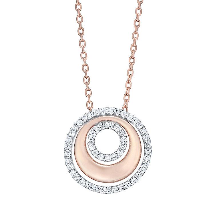 9ct Rose Gold Rhodium Cubic Zirconia Circles Necklet - Product number 4837711