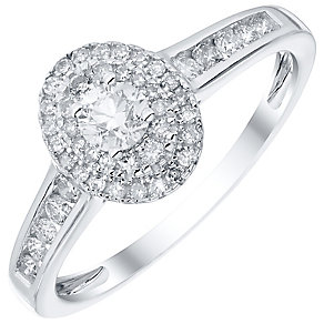 9ct White Gold 0.50ct Diamond Round Oval Halo Ring - Product number 4837886