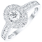 9ct White Gold 0.75ct Diamond Round Oval Halo Ring - Product number 4838009