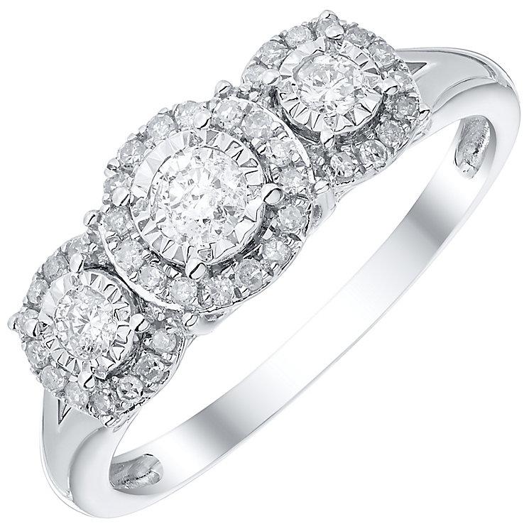 9ct White Gold 0.33ct Diamond 3 Stone Illusion Set Ring - Product number 4838157