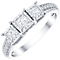 9ct White Gold 0.50ct Diamond 3 Stone Illusion Set Ring - Product number 4838300