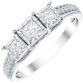 9ct White Gold 0.50ct Diamond 3 Stone Illusion Set Ring - Product number 4838300