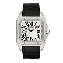 Cartier Santos 100 men's black leather strap watch - Product number 4838440