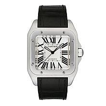 Cartier Santos 100 men's black leather strap watch - Product number 4838440