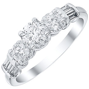 18ct White Gold 1ct Diamond 3 Stone Ring - Product number 4838475