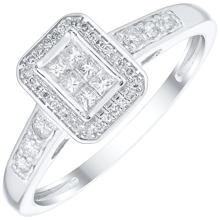 9ct White Gold 0.25ct Diamond Princess Cut Cluster Ring - Product number 4839102