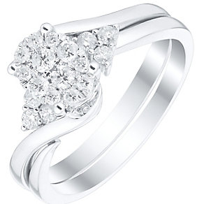 9ct White Gold 0.33ct Diamond Cluster Bridal Set - Product number 4839242