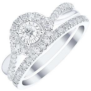 9ct White Gold 0.50ct Diamond Illusion Set Halo Bridal Set - Product number 4839668