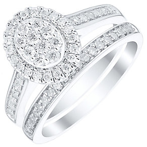 9ct White Gold 0.50ct Diamond Oval Cluster Halo Bridal Set - Product number 4839846