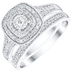 9ct White GoldG 0.33ct Diamond Illusion Set Bridal Set - Product number 4839978