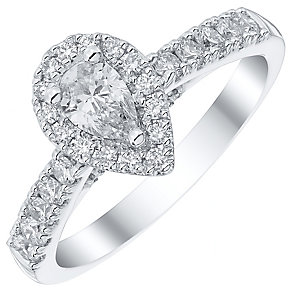 Platinum 0.75ct Diamond Pear Cut Solitaire Ring Halo Ring - Product number 4840100