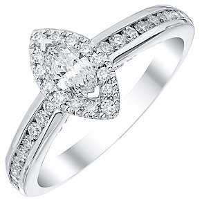 Platinum 0.60ct Diamond  Solitaire Ring Halo Ring - Product number 4840372