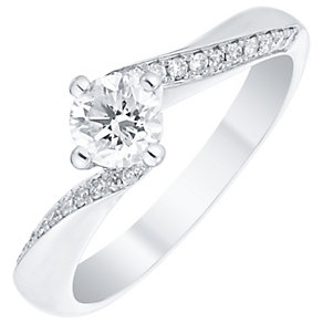 Platinum 0.50ct Diamond Solitaire Twist Ring - Product number 4840836