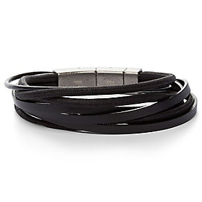 Fossil Men's Stainless Steel Black Leather Bracelet - Product number 4842820