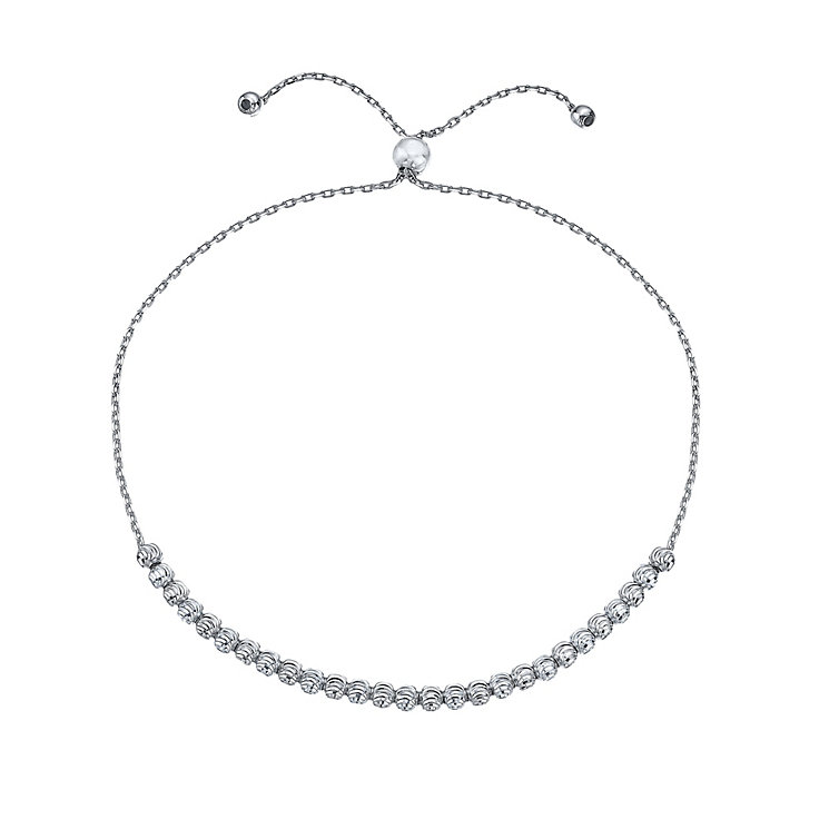 9ct White Gold Sparkle Bead Bracelet - Product number 4848128