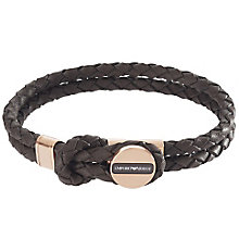 Emporio Armani Men's Rose Gold Tone Brown Leather Bracelet - Product number 4848403
