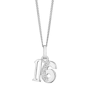 9ct White Gold Diamond Set Age 16 Pendant - Product number 4859022