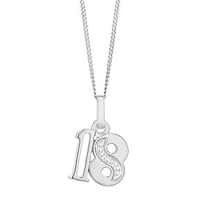 9ct White Gold Diamond Set Age 18 Pendant - Product number 4859251