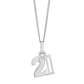 9ct White Gold Diamond Set Age 21 Pendant - Product number 4859294