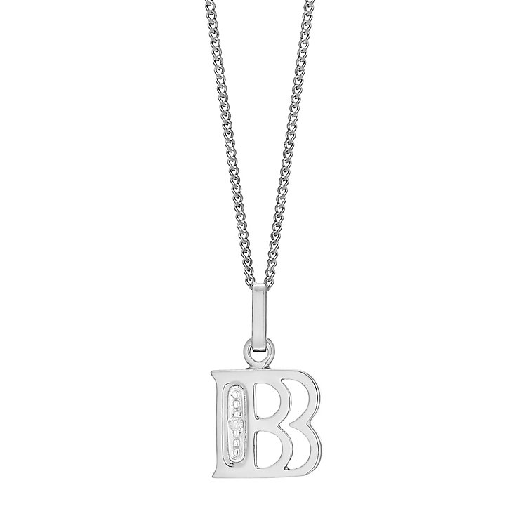 9ct White Gold Diamond Set Initial B Pendant - Product number 4859324