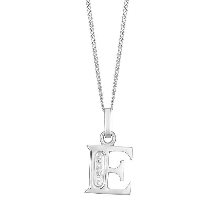 9ct White Gold Diamond Set Initial E Pendant - Product number 4859413