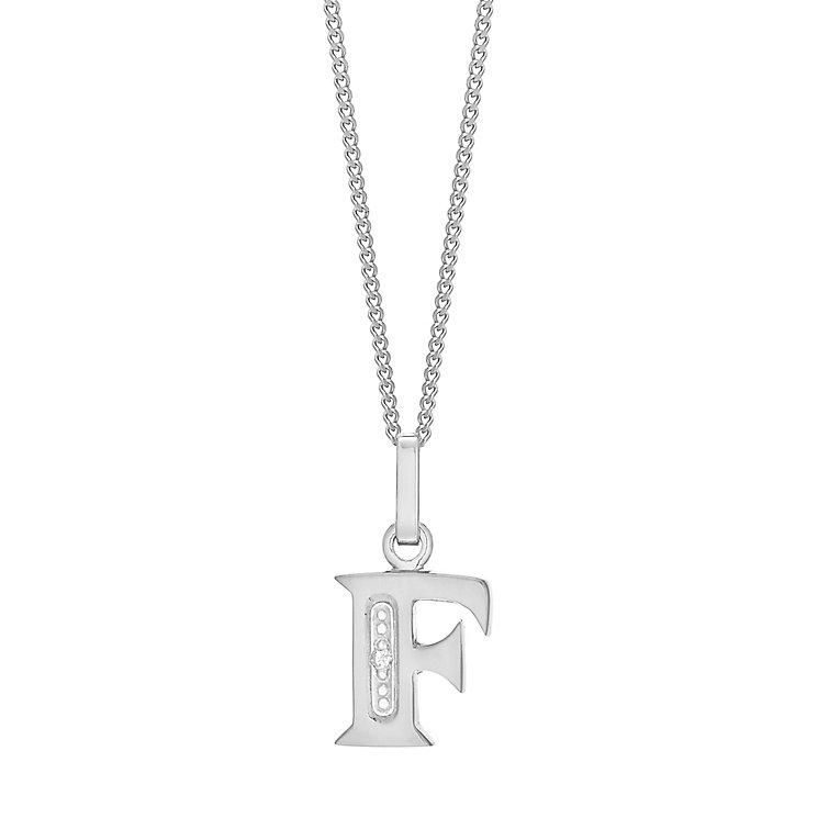 9ct White Gold Diamond Set Initial F Pendant - Product number 4859456