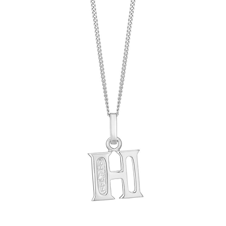 9ct White Gold Diamond Set Initial H Pendant - Product number 4859723