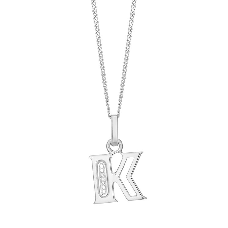 9ct White Gold Diamond Set Initial K Pendant - Product number 4859820