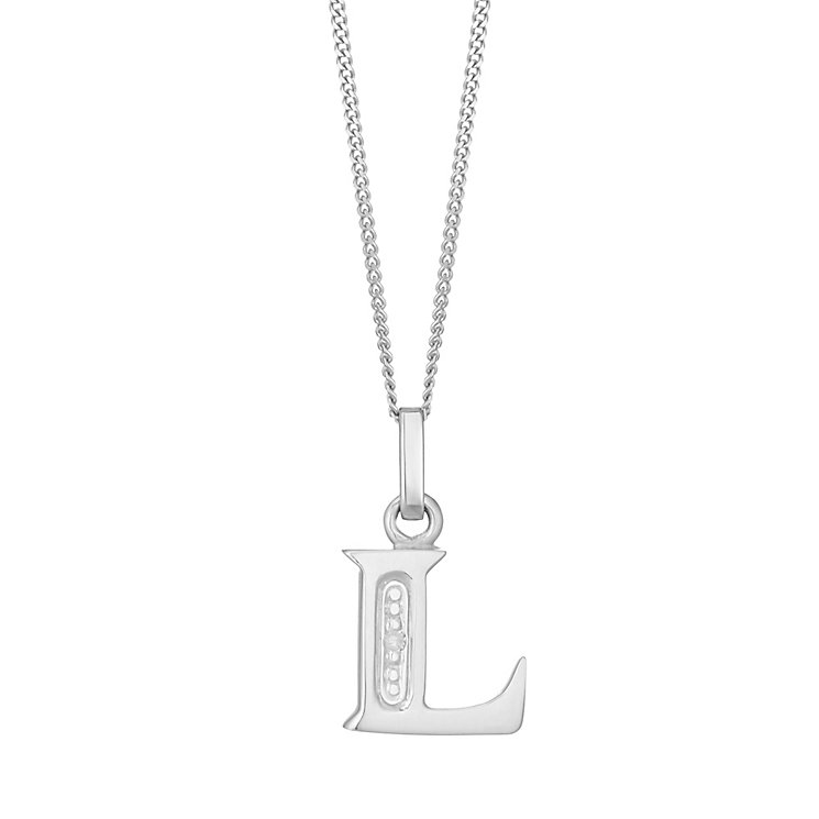 9ct White Gold Diamond Set Initial L Pendant - Product number 4859855