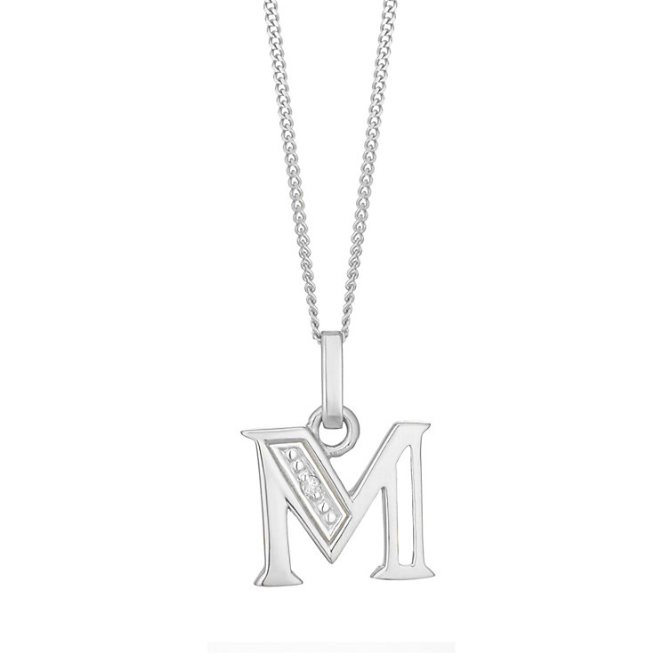 9ct White Gold Diamond Set Initial M Pendant - Product number 4859936