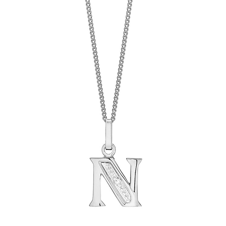 9ct White Gold Diamond Set Initial N Pendant - Product number 4859960