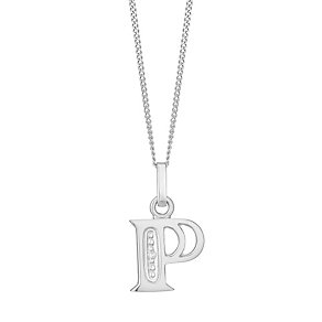9ct White Gold Diamond Set Initial P Pendant - Product number 4860128