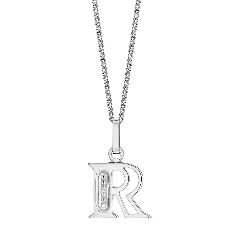 9ct White Gold Diamond Set Initial R Pendant - Product number 4860187