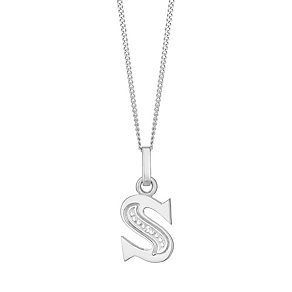 9ct White Gold Diamond Set Initial S Pendant - Product number 4860330