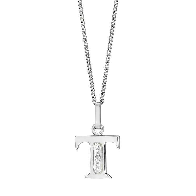 9ct White Gold Diamond Set Initial T Pendant - Product number 4860365