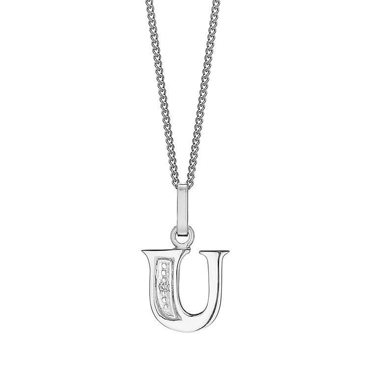 9ct White Gold Diamond Set Initial U Pendant - Product number 4860403