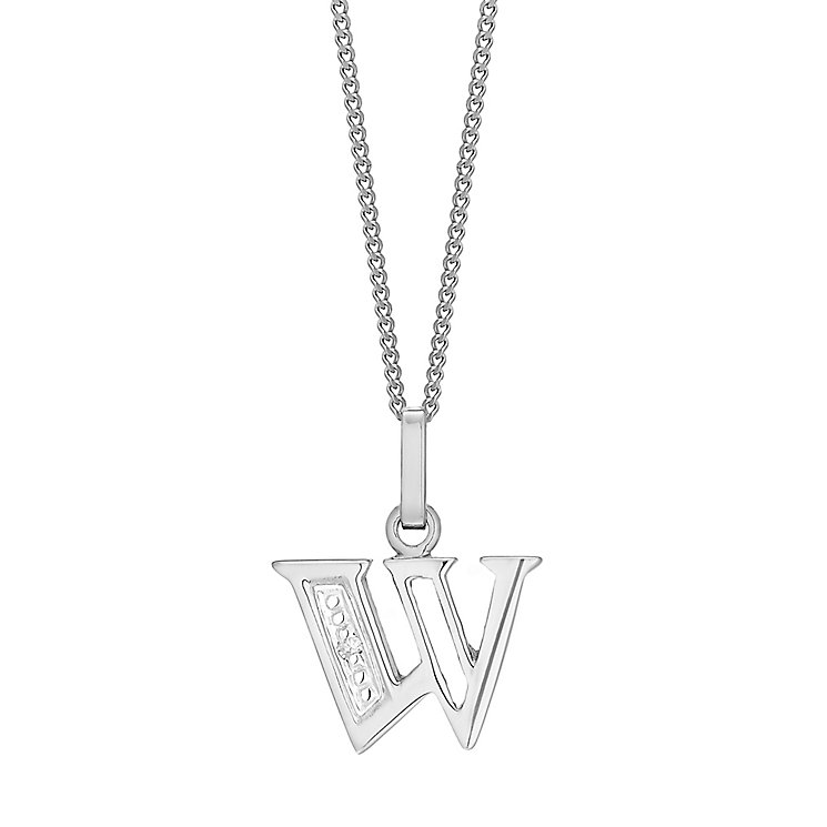 9ct White Gold Diamond Set Initial W Pendant - Product number 4861175