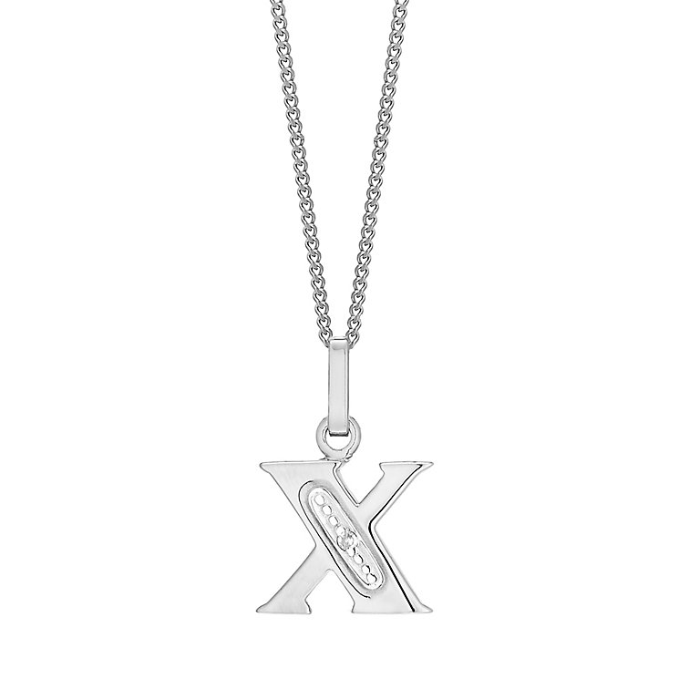 9ct White Gold Diamond Set Initial X Pendant - Product number 4861205