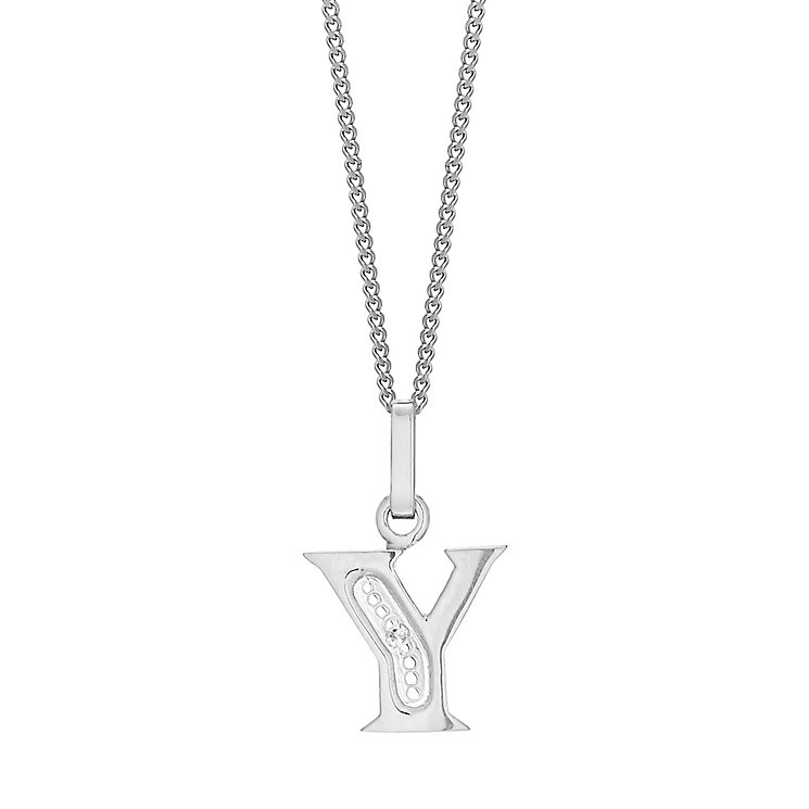 9ct White Gold Diamond Set Initial Y Pendant - Product number 4861248
