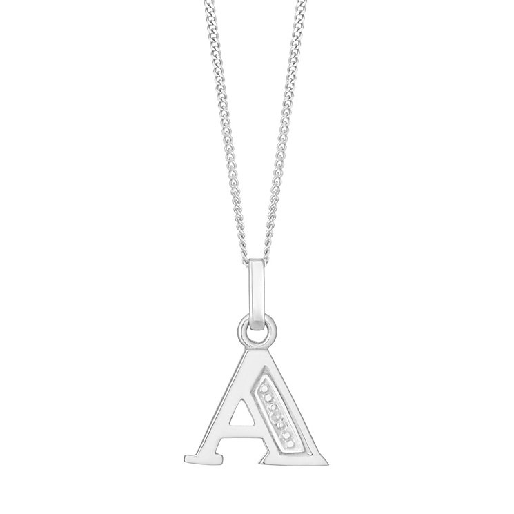 9ct White Gold Diamond Set Initial A Pendant - Product number 4861302
