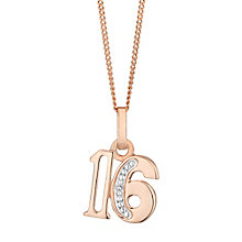 9ct Rose Gold Diamond Set Age 16 Pendant - Product number 4861612