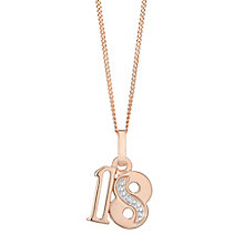 9ct Rose Gold Diamond Set Age 18 Pendant - Product number 4861760