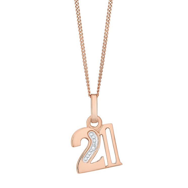 9ct Rose Gold Diamond Set Age 21 Pendant - Product number 4861795