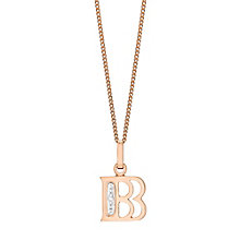 9ct Rose Gold Diamond Set Initial B Pendant - Product number 4861825