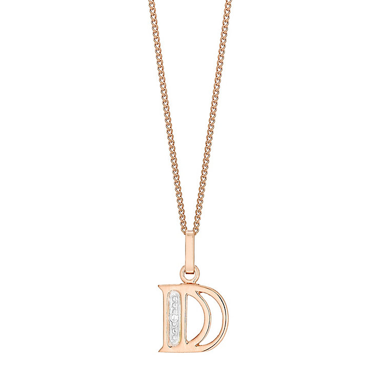 9ct Rose Gold Diamond Set Initial D Pendant - Product number 4862015