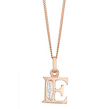 9ct Rose Gold Diamond Set InitialE Pendant - Product number 4862066