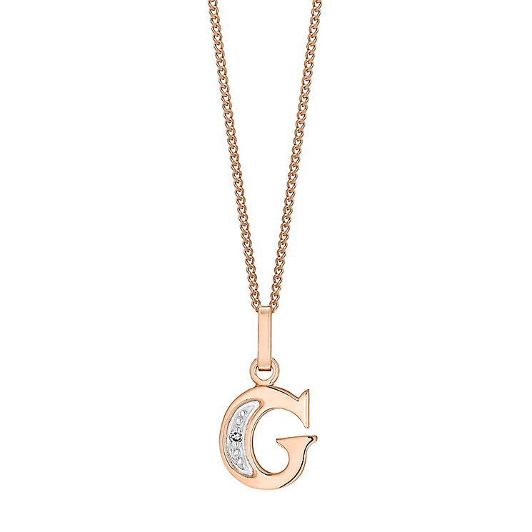 9ct Rose Gold Diamond Set Initial G Pendant - Product number 4862139