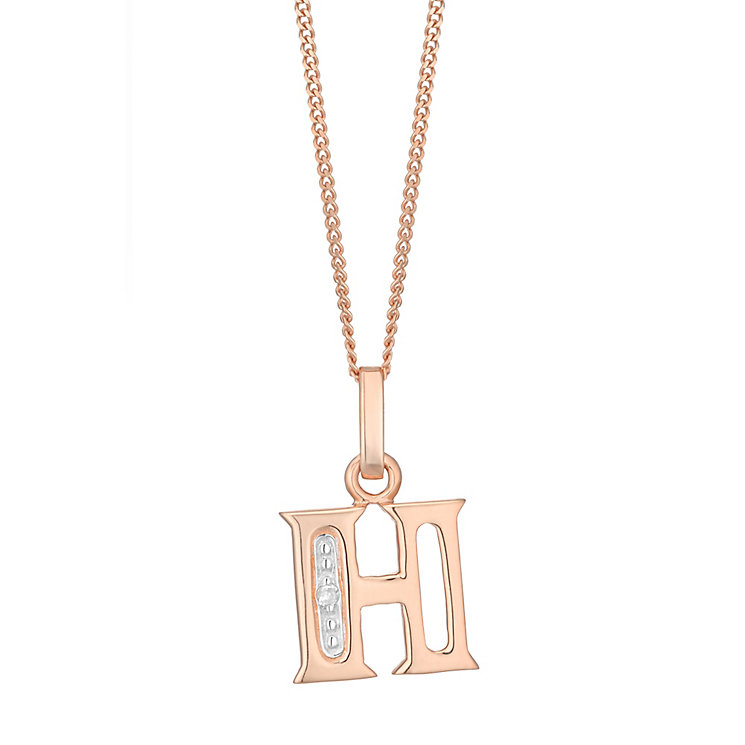 9ct Rose Gold Diamond Set Initial H Pendant - Product number 4862309
