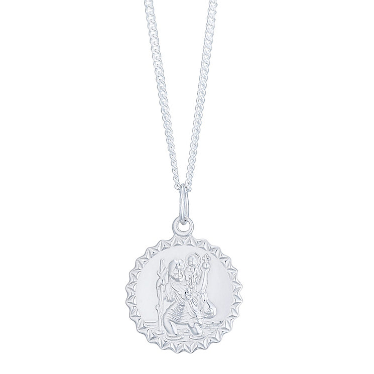 Sterling Silver Round Fancy Cut St Christopher Pendant - Product number 4863356