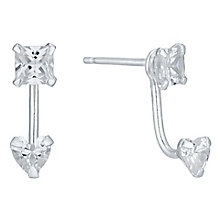 Sterling Silver Cubic Zirconia Heart Ear Jackets - Product number 4863437